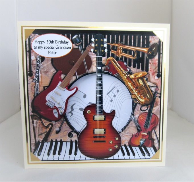 Musical Instruments Birthday Card 7x7inch