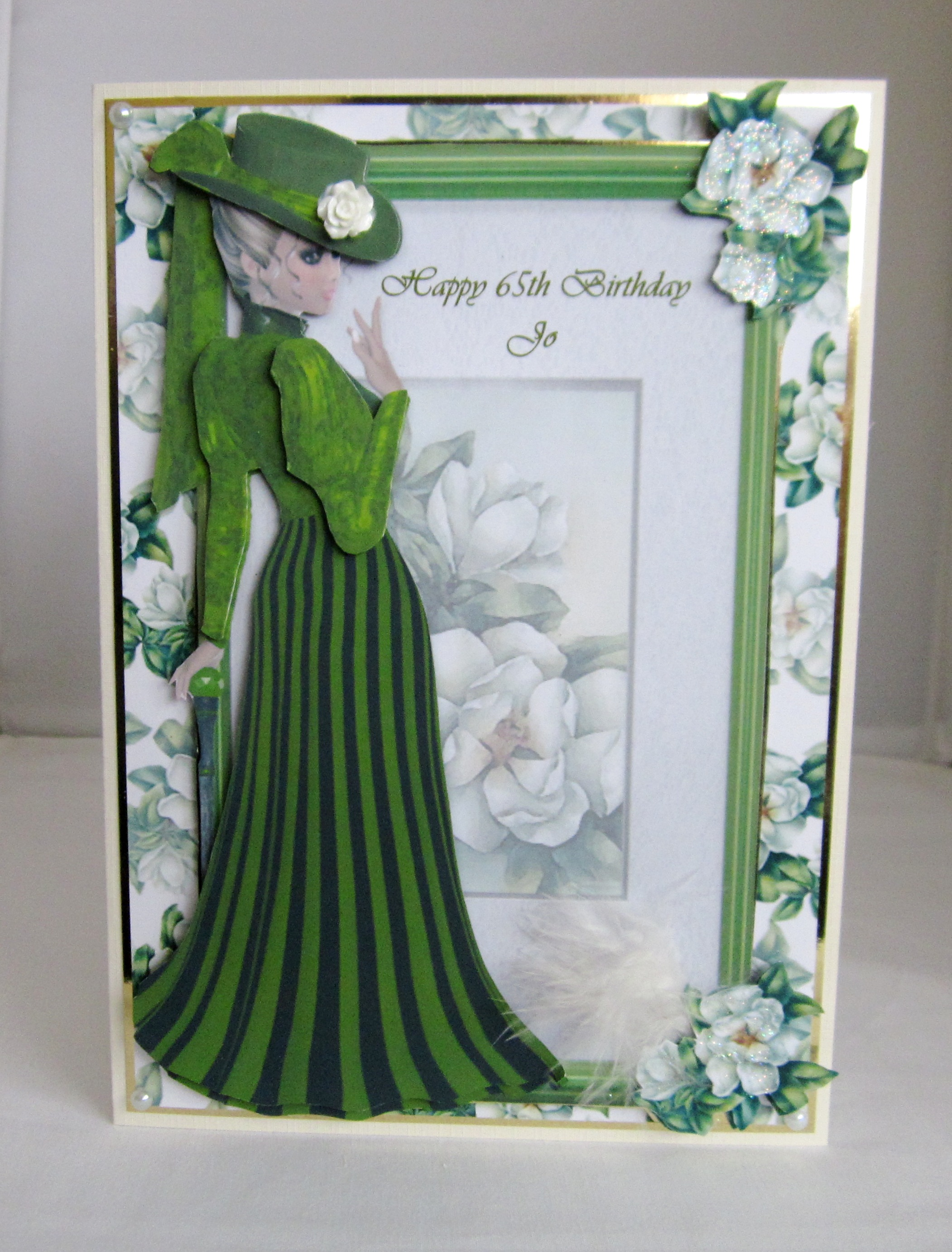 Elegant green lady Birthday card(layered) - Handmade cards: bespokecards4u.weebly.com/store/p42/elegant_green_lady_birthday...